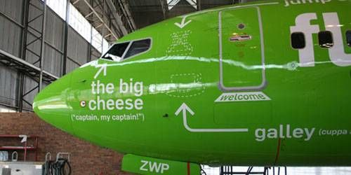 Kulula airlines: Having fun illustrating the different parts of the plane.