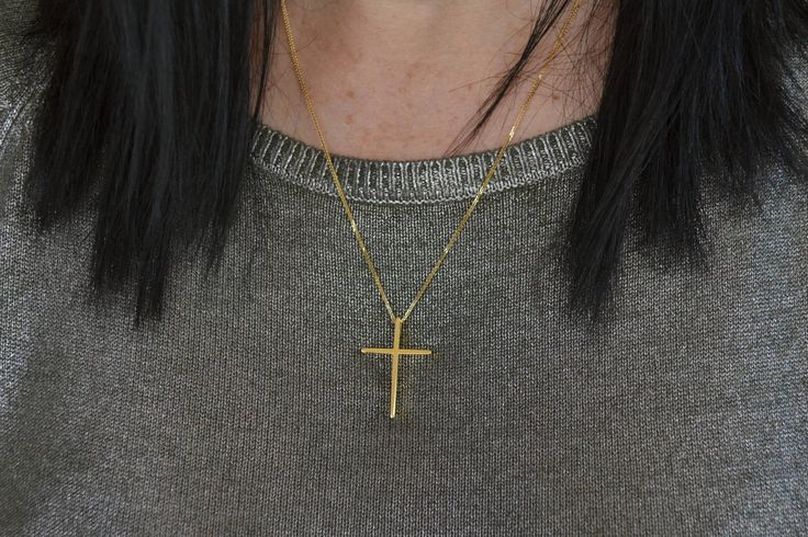 Gold Cross Necklace Solid 18k Gold Mens Cross Necklace Simple Gold Cross Necklace Confirmation Cross Necklace Cross Gift For Mom Baptism by ViazisJewelry on Etsy