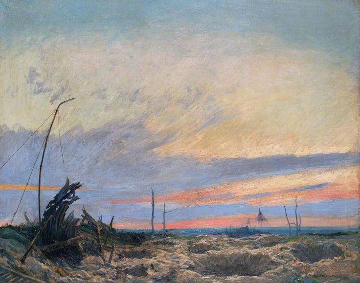Evening by Emile Antoine Verpilleux, 1919.  A relatively peaceful view of the tortured landscape of the Western Front battlefield.