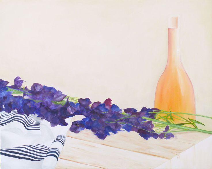 Summer scent, YEJI KIM, oil on canvas, 100x80cm, Oct. 2015 -  delphinium, purple, flower, kitchen, table, minimalist, blossom, clean