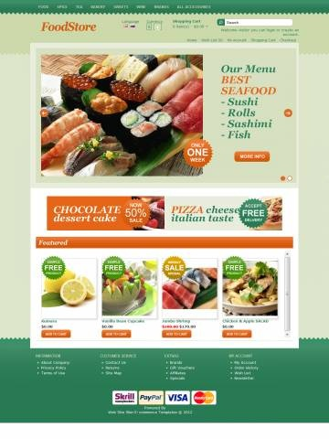 Food Store OpenCart Theme Template is specially designed for Grocery Store. There are Bakery, Vegetables, Meat, Seafood, Pizza and Pasta, Desserts and other. Garmonical colors combination of green and grass gamma is the Best decorate for our products. Modern zigzag border. It is very nice with its clean and professional look.