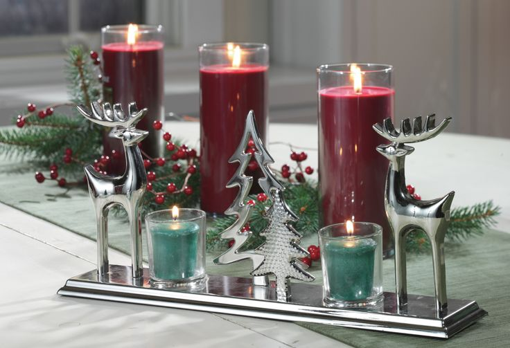 Luscious Plum Perfect Pillars and our new Woodland Shimmer Tea Light holders make for a great holiday centerpiece .