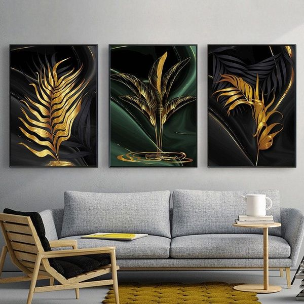 Leaf Painting Golden Wall Art Canvas Print Modern Art Poster And Prints Abstract Black Painting Living Room Decoration Picture Wish Living Room Canvas Prints Living Room Art Prints Gold Wall Canvas for living room uk
