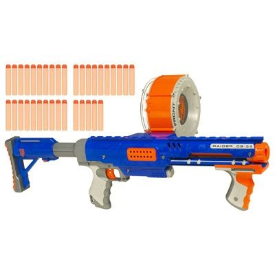 "Found one of these ""bullets"" in my backyard chewed by my dog -- would have been a nasty vet bill -- what a crappy toy . . .     NERF N-STRIKE RAIDER RAPID FIRE CS-35"