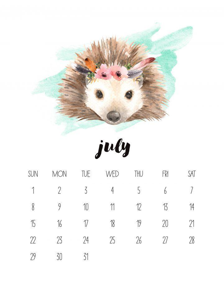 Free Printable 2018 Watercolor Animal Calendar