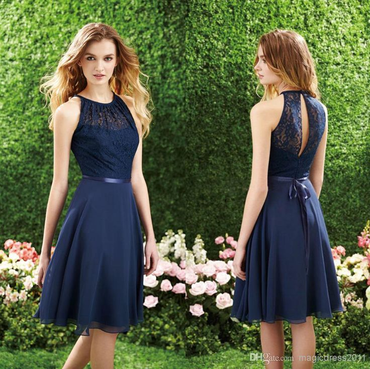 Cheap Navy Bridesmaid Dress - Discount Sale Elegant Dark Navy Lace Bridesmaid Dresses Short Online with $71.32/Piece | DHgate