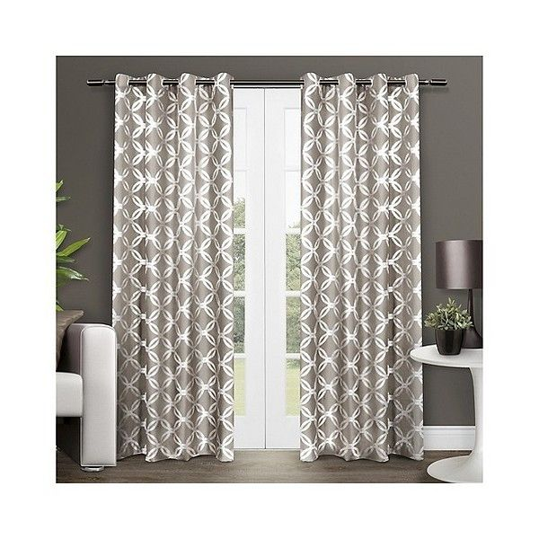 Set of  Modo Curtain Panels Natural ($26) ❤ liked on Polyvore featuring home, home decor, window treatments, curtains, natural, target curtain panels, target curtains, metallic curtains and modo