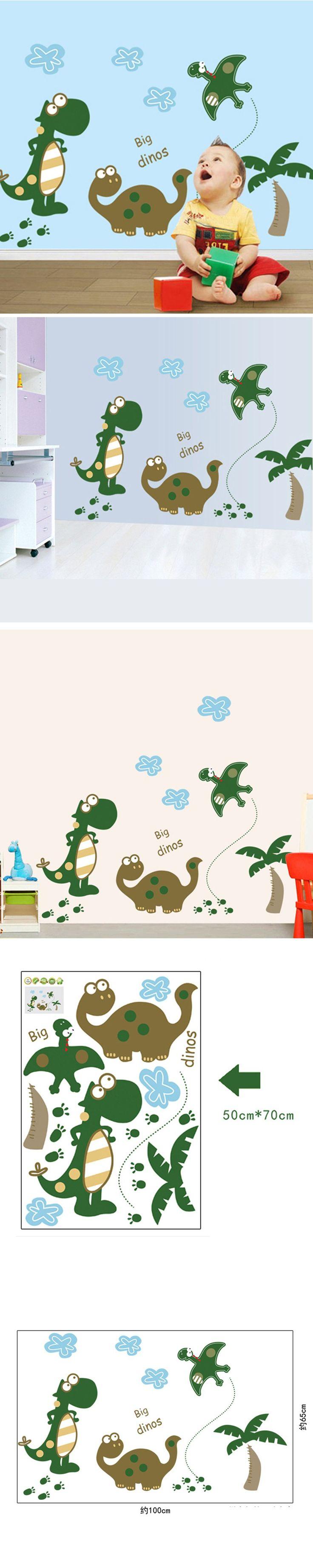 Fashion Cute New Cartoon Dinosaur Wall Stickers Kids Room Decorative Children Removable PVC Home Decor Wallpapers E007 $7.06