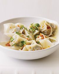 """Spinach-and-Pork Wontons  In her pan-Asian cookbook, food writer Andrea Nguyen recommends homemade wonton wrappers but says store-bought are fine: """"Just look for ones labeled 'thin' or 'Hong Kong'style."""""""