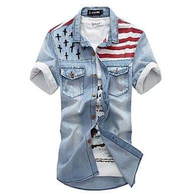 Camisa Moda Denim do ™ Homens Taichang - BRL R$ 82,78