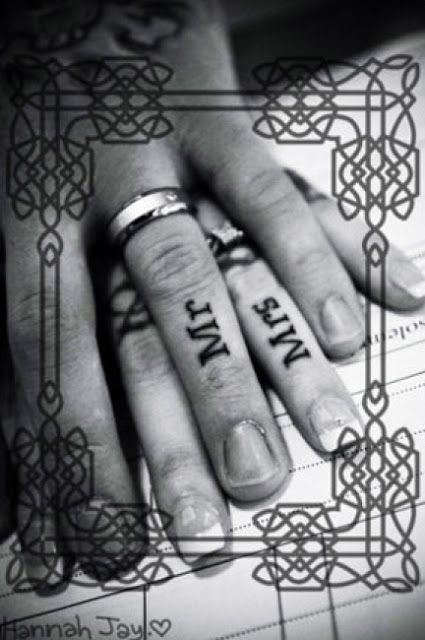 Couples tattoo for wedding. Kind of wondering what the point of this is but still cute!