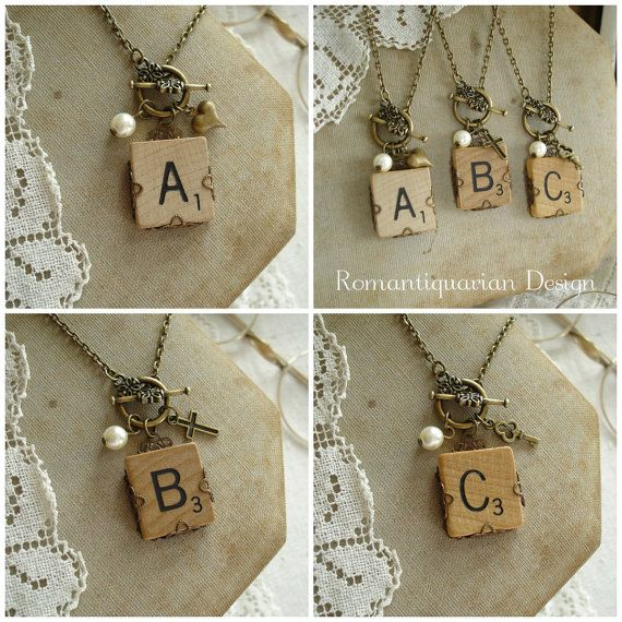 SCRABBLE Letter Necklace. Custom Initial Necklace. Vintage Wood Tile & Antiqued Brass Filigree. Monogram Necklace.