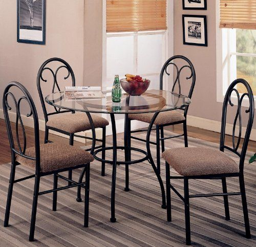 Coaster Odelia Pc Dining Set Including Table With Metal Base And Microfiber  Upholstered Chairs In With Coaster Retro Dining Room Sets