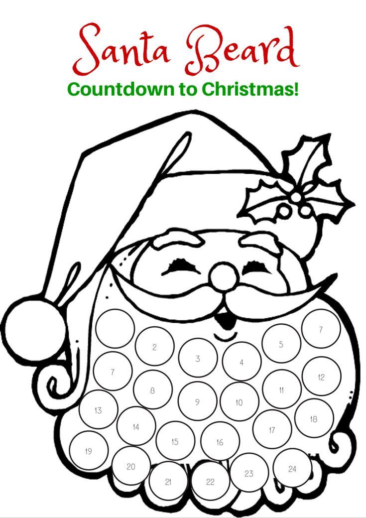 Countdown to Christmas with this free printable Santa Beard