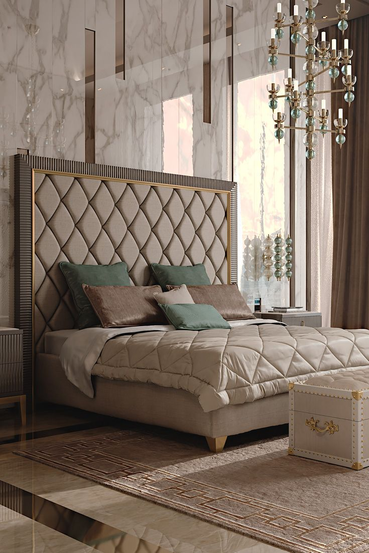 Bed headboard upholstered -  Outlines Which Is Perhaps One Of The Most Recognisable Features Of Art Deco The Italian Designer Art Deco Inspired Upholstered Bed With Tall Headboard