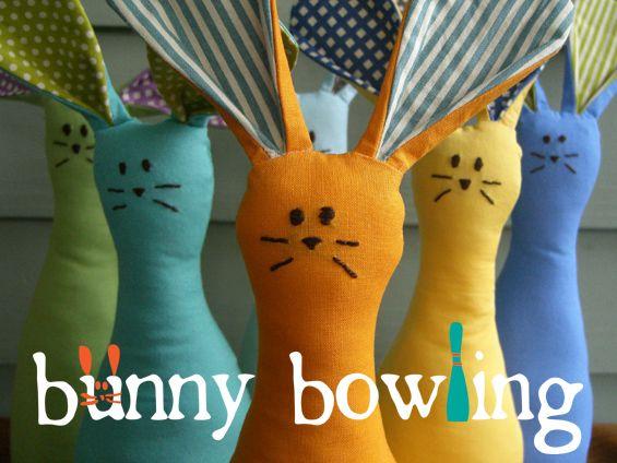 Bunny Bowling Pins tutorial by Ellen of The Long Thread #sew #diy #easter #softie