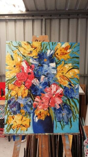 A burst of flowers 80 x 90 cm Oil painting on hardboard with box frame on rear for mounting $250
