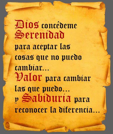 oracion de la serenidad completa   La Oración de la Serenidad en su forma completa:   Jóvenes ...
