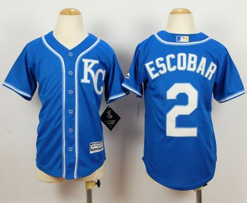 Royals #2 Alcides Escobar Blue Alternate 2 Cool Base Stitched Youth Baseball Jersey Top Quality Wholesale Jerseys 30% Discount