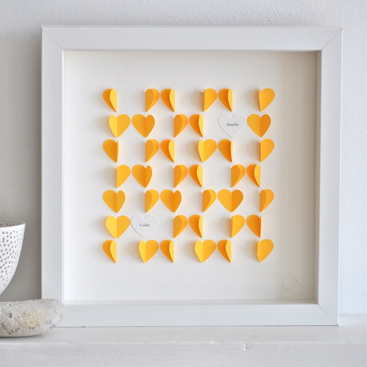 """My clients love the little """"heartwork"""" by Sarah and Bendrix.: Diy Wallart, Diy Crafts, Gifts Ideas, Paper Heart, Diy Gifts, Flowers Heart, Love Heart, Personalized Heart, Gifts Boxes"""