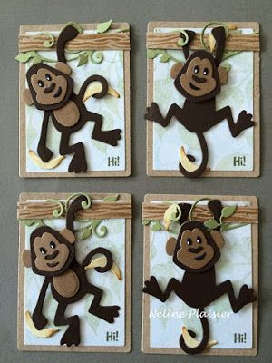 ATC cards made by DT member Neline with Collectables Eline's Monkeys (COL1399), Craftables Wood (CR1348) and Creatables Anja's Vintage Swirl (LR0271) from Marianne Design