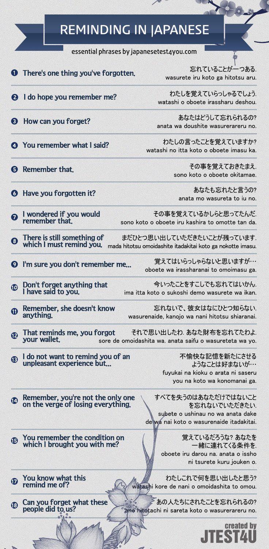 Japanese Language  - Reminding