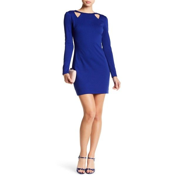 Nicole Miller Studio Cutout Long Sleeve Dress (940 MXN) ❤ liked on Polyvore featuring dresses, electric blue, keyhole dresses, royal blue long sleeve dress, royal blue cut out dress, cut-out back dresses and royal blue color dress