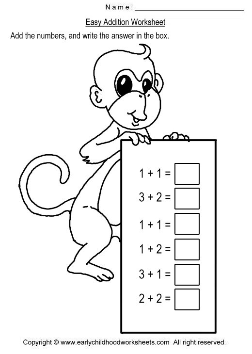 Image detail for -To print this worksheet, click Easy Addition Worksheet