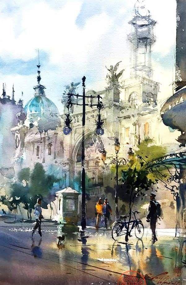 Yuko Nagayama Watercolor Jd Peinture Paysage Paysage Aquarelle