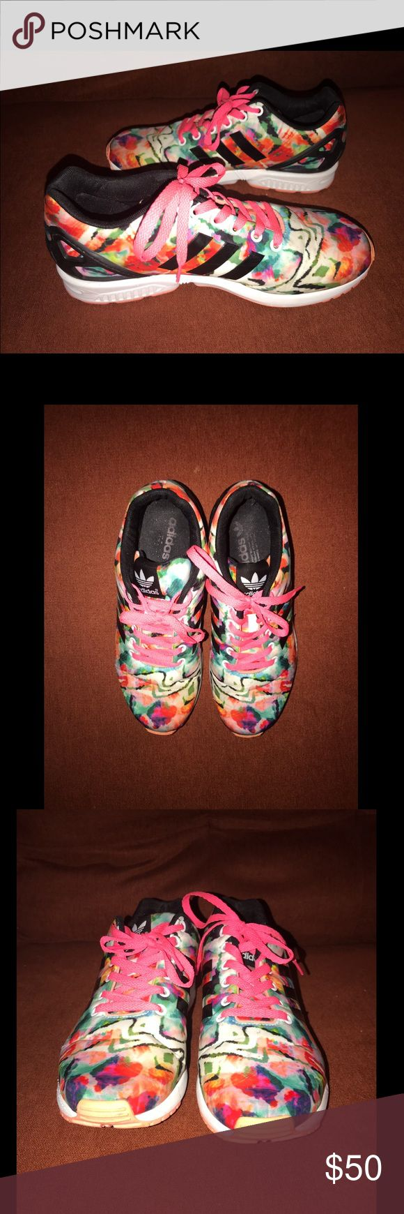 adidas zx flux torsion multicolor 9 Like new with cosmetic blemishes as noted in photographs.  Size 9.  Limited edition print. adidas Shoes Athletic Shoes