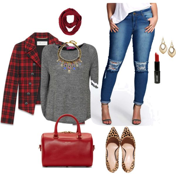A fashion look from January 2015 featuring womens plus size sweaters, red and black plaid jacket and plus size destroyed skinny jeans. Browse and shop related l...