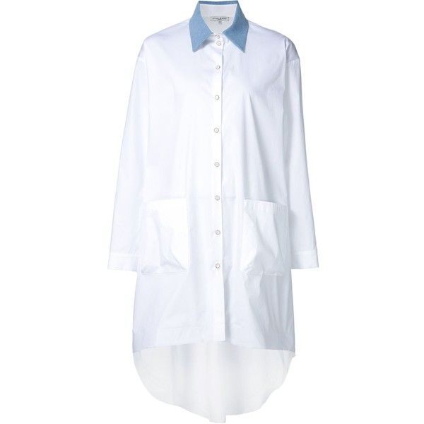 Natasha Zinko denim collar shirt dress (£860) ❤ liked on Polyvore featuring dresses, white, shirt dress, white dress, long white shirt dress, white shirt dress и long shirt dress
