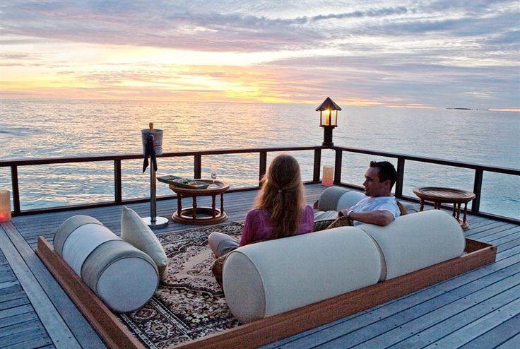 Laid-back terrace lounge at Banyan Tree Vabbinfaru, #Maldives