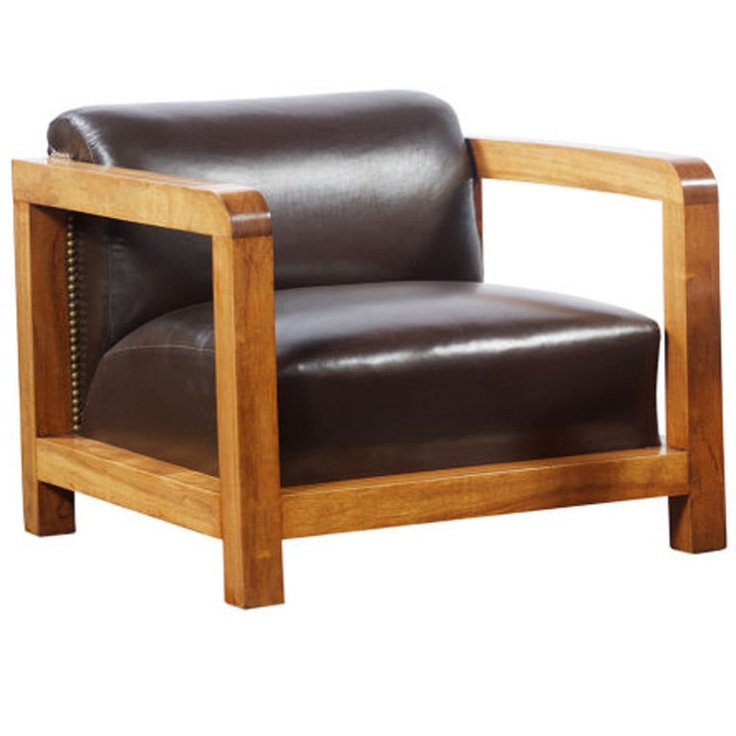 Jacques Adnet Attributed; Walnut and Leather Armchair, 1930s.