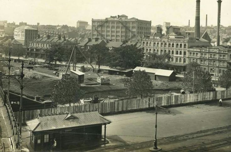 Belmore Park,opposite Central Railway Station,construction of the Sydney underground railway, 19 April 1917.