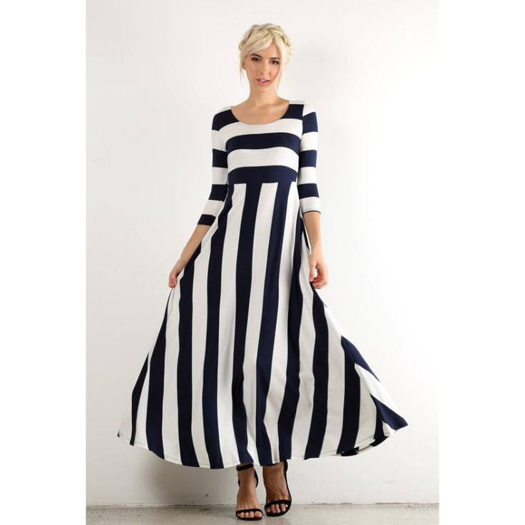 Ivory & Navy Striped Maxi Dress