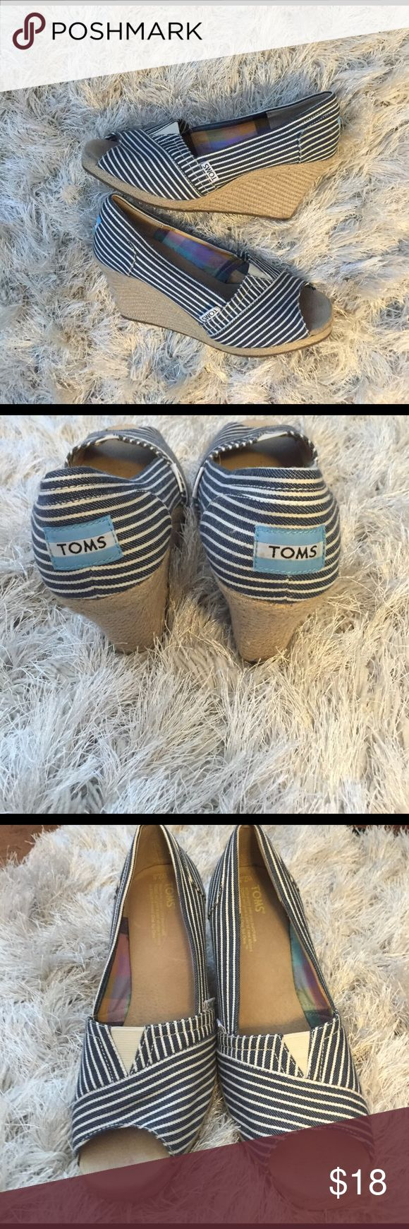 TOMS Espadrilles TOMS  blue and white striped espadrilles                          Size 7.5                                                                                    No flaws minor signs of wear. *bundle and save* Shoes Espadrilles