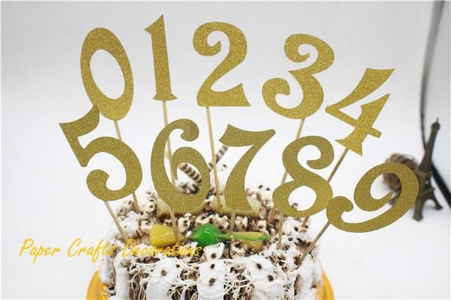 Set of 10pcs (0-9) Gold Glitter Numbers Personalized Cake Topper Kit Wedding Birthday Cupcake Party Decorations From 0 to 9