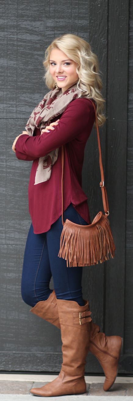 Burgundy Safe and Sound Tunic, Crimson Elephant Lightweight Scarf, Cognac Fringe Cross Body Purse, Forever in Blue Dark Wash Jeggins, and Cognac Walking Tall Riding Boots