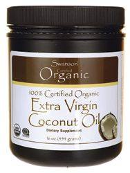 Swanson Organic Certified 100% Organic Extra Virgin Coconut Oil 16 oz (454 grams) Solid Oil - Swanson Health Products