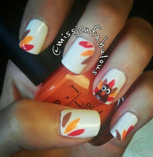 I am definitely not skilled enough to do this but those are some pretty cute thanksgiving themed nails!