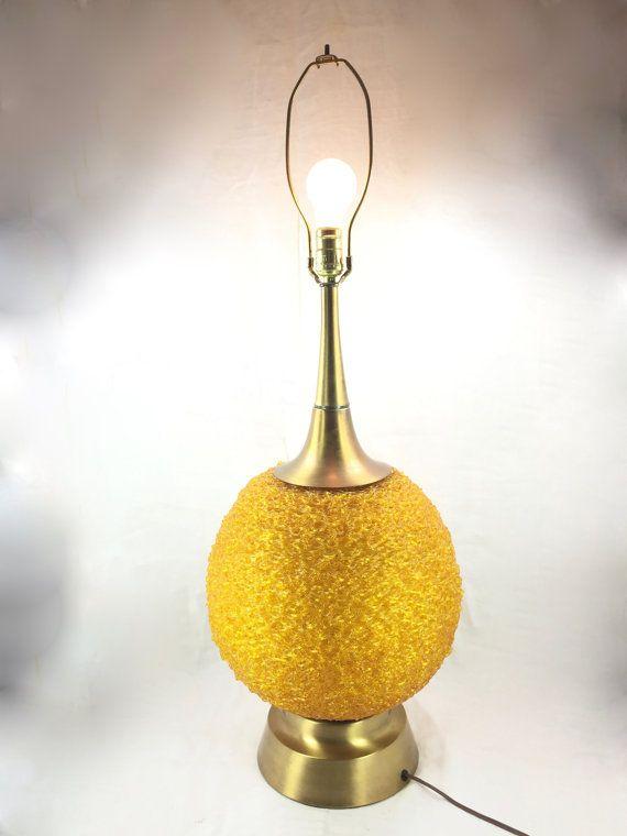Vintage Lucite Orange Spaghetti Table Lamp Works Massive Orange
