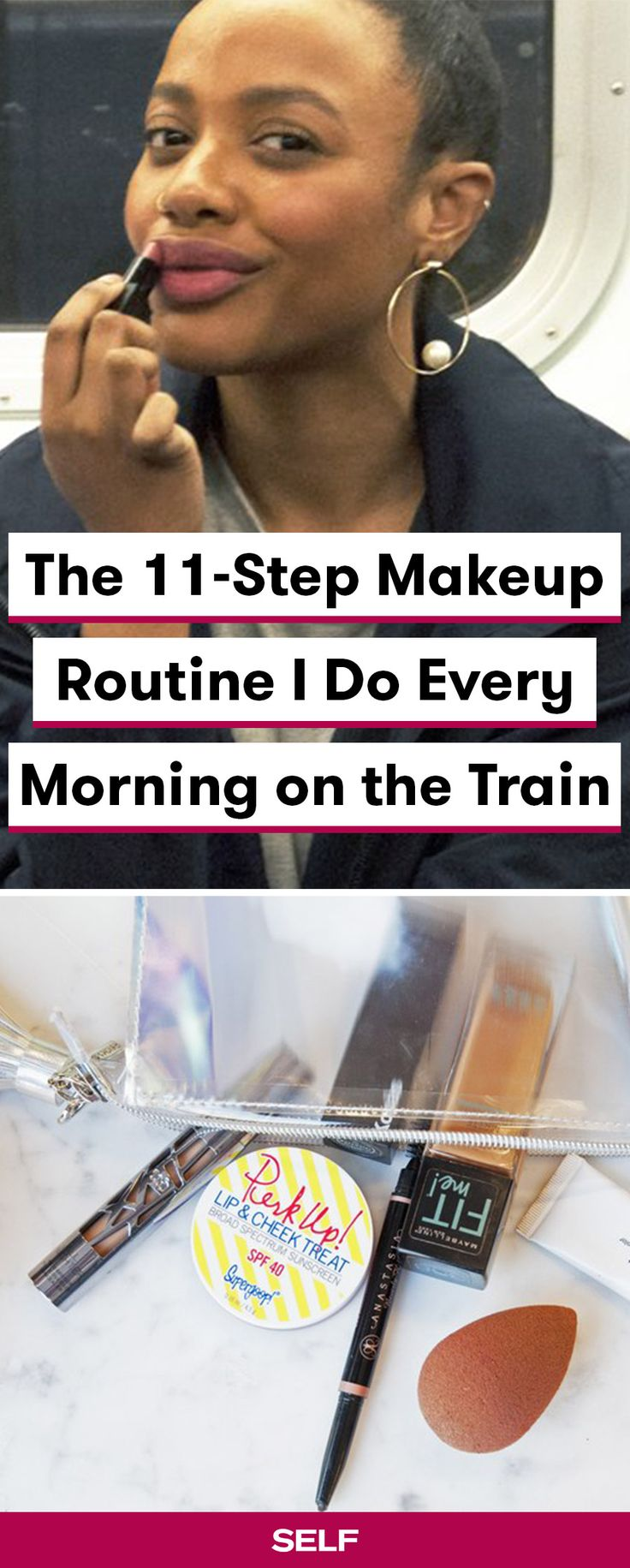 Looking for a fast makeup routine for mornings? Here are all 11 of our editor's essential steps, plus the products and tips that help her achieve a simple everyday makeup look. If she can do it in a moving train, you can do this tutorial at home—guaranteed!