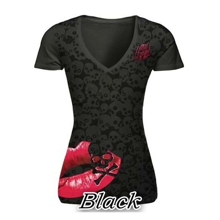 Cheap fashion t shirt, Buy Quality t shirt directly from China t shirt style Suppliers: Summer T-Shirt Skull Print Causal Women Short Sleeve V-Neck Punk Style Tee Tops Fashion T Shirt Plus Size Women S-5XL LJ8593C