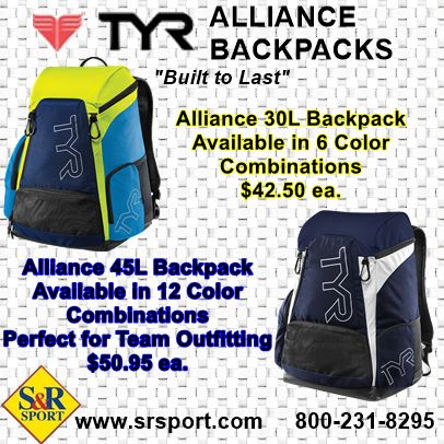 The TYR Alliance 30L and 45L Backpacks. We talked about them last week, and here they are. It's time for a bag upgrade. Perfect for #swimming #WaterPolo #Diving #Triathlon #MartialArts #Synchro & you can get them at www.srsport.com 800-231-8295
