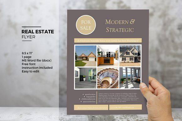 MS Word real estate flyer template by Inkpower on @creativemarket