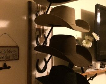 Horseshoe and barn wood cowboy hat rack sombreros barn - Perchero para sombreros ...