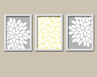 yellow and gray wall decor - Google Search