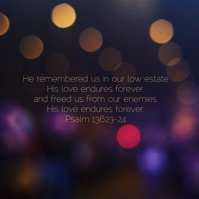 Psalms 136 exalts God and reminds us how big and grand He is just to say He remembered us in our low estate His love endures forever. Psalm 136:23. Like here is this amazing God who will be there when you are at your absolute worst. #loveendures #Godisbigger #Godfirst #scripture #powerofGod #godlovesme #godlovesyou #godisgood #loveofgod #wordofgod #wordsoflove #wordoflife #wordstoliveby #wordsofwisdom #everlastinglove #unfailinglove #memorymonday #beloved #Intercessor #abideinchrist #gospel…