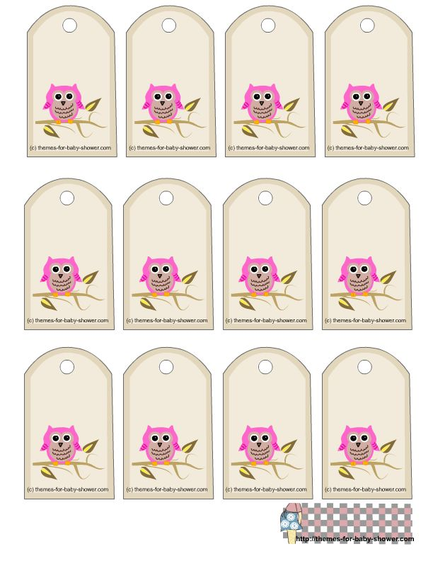 Free Owl Printables   free owl themed favor tags for girl baby shower